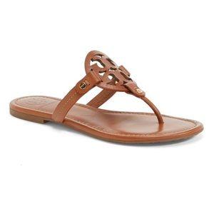 Tory Burch Miller Sandals Vachetta Brown Leather